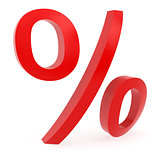 Curved red percent sign