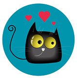 Funny enamored cat vector illustration