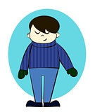 Boy in Winter Clothes Cartoon