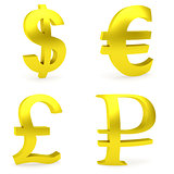 Curved golden money symbols