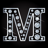 Vector M letter made with diamonds isolated on black background