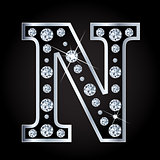 Vector N letter made with diamonds isolated on black background