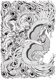 feng huang mythological bird black and white