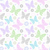 pattern with floral butterflies