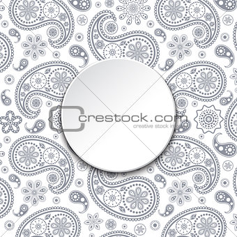 card with gray paisley
