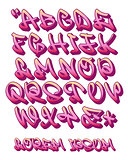Graffiti alphabet 3D- Hand written - Vector font