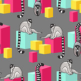 Vector seamless pattern with  cartoon lemurs and  cubes.