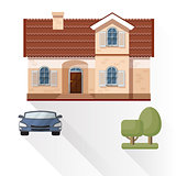Vector illustration of living house, car and trees.