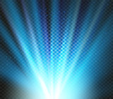 Shining vector blue color light effects, glowing beams on checkered background, illumination vector illustration