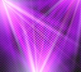 Shining vector purple color light effects, glowing beams on checkered background, illumination vector illustration