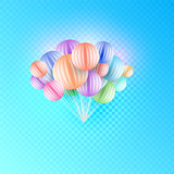 Origami Paper Art Colorful Bunch of Birthday Balloons Flying for Party and Celebrations Isolated in Blue Checkered Background. Vector Illustration