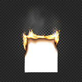 Burning Paper Sheet A4 Edges Close up Isolated on Black Checkered Background. A smoking sheet of paper with fire vector illustration.