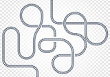 Railway line, labyrinth and nodes. Map of the tramway for trains with turns and bridges vector illustration