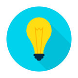 Idea Lamp Flat Circle Icon
