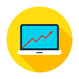 Laptop Growth Graph Circle Icon