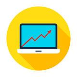 Laptop Growth Graph Circle Icon