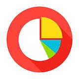Pie Chart Flat Circle Icon