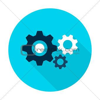 Three Gear Flat Circle Icon