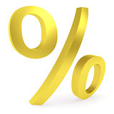 Curved golden percent sign
