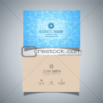 Business card with swimming pool water texture