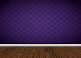 Interior with purple damask wallpaper and wooden floor