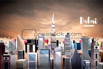 Dubai City Skyline. Aerial View.