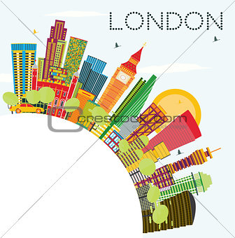 Abstract London Skyline with Color Buildings and Copy Space.