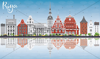 Riga Skyline with Landmarks, Blue Sky and Reflections.