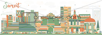 Abstract Surat Skyline with Color Buildings.