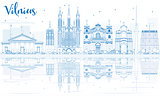 Outline Vilnius Skyline with Blue Landmarks and Reflections.