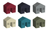Building houses icon in 3D
