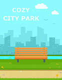 cozy city park with wooden banch