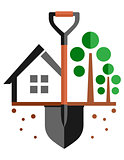 garden symbol with home and shovel on ground
