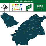 Map of Al Qassim, Saudi Arabia