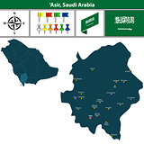 Map of Asir, Saudi Arabia