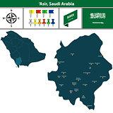 Map of Asir, Saudi Arabia