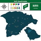 Map of Hail, Saudi Arabia