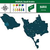 Map of Makkah, Saudi Arabia