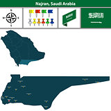 Map of Najran, Saudi Arabia