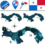 Map of Panama with Named Provinces and Comarcas