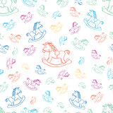 Seamless baby background with horse