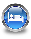 Hotel bed icon glossy blue round button