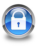 Padlock icon glossy blue round button