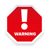 Warning sign hexagon red