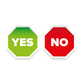 Yes No sign sticker set