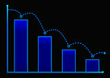 Decreasing bar graph with blue arrow . Isometric bar graph with two axes and columns, showing the rapid decline on a black background . Eps 10 vector illustration