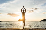 Silhouette of a woman practicing the tree yoga pose on a beach a