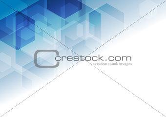 Bright blue tech geometric background
