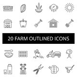 Farm thin icon set