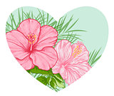 Tropical floral heart